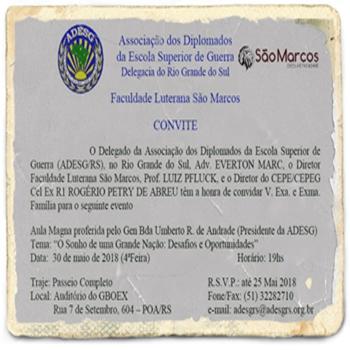 Adesg Rio Grande do Sul – Convite Aula Magna