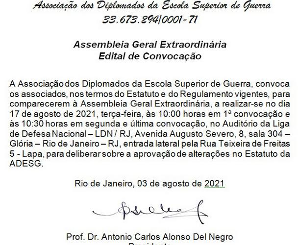 EDITAL DE CONVOCAÇÃO – ASSEMBLEIA GERAL EXTRAORDINÁRIA
